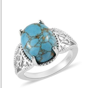5ct Mojave Blue Turquoise Platinum Bond Brass Ring